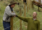 (Boulder, Colo., June 18, 2004)    HGTV Dream House.   Christopher Herr (cq) has a friendly talk...