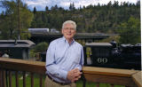 Idaho Springs Mayor Dennis Lunbery (cq) on the back deck of City Hall Thursday morning September...