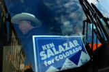 Canon City, Colo., photo taken October 24, 2004- Ken Salazar gets off his bus and touches down in...