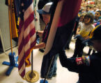 (CENTENNIAL, CO., NOVEMBER 11, 2004)  Cub Scout Color Guard Aaron Bilek, left, and Joshua Field,...