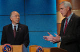 (DENVER, CO., OCTOBER 29, 2004)   Democratic Senate Candidate, Ken Salazar, left, and Republican...