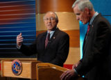(DENVER, CO., OCTOBER 29, 2004)  Democratic Senate Candidate, Ken Salazar,left, and  Republican...