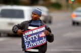 Denver, Colo., photo taken October 31, 2004-John Kerry supporter, Tej Wilson,23, of Denver, Co.,...