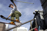 (Denver, Co.,  November 16, 2004.)  Jeremy Weir, a member of the Winter Park free ride team, rides...