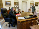 NYT2 - FILE (NYT2) WASHINGTON -- Nov. 16, 2004 -- BUSH-RICE-APPOINT-2 -- President Bush talks on...