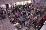 (Denver, Colo., November 2, 2004) Crowds wait in line for emergency registration and voting at the...