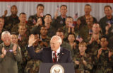 (Colorado Springs, Colo., August 2, 2004) Vice President Dick Cheney waves to members of the...