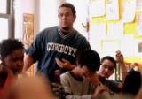 (DENVER, CO. NOVEMBER 17, 2004) (Standing) Tomas Gonzales, 18, vents his feeling about the Rocky...