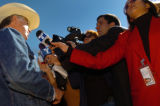 (11/03/04, Denver, CO) Ken Salazar held a press conference in the parking lot of his campaign...