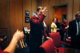 (DENVER, Co.,  November 3, 2004.)  Colorado Governor Bill Owens spoke to reporters in his office...