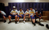 (DENVER, Co.,  8/18/04) (Lt. to Rt.) Vikings football players Jose Arroyo, 17, Jorge Torres, 17,...