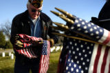 11/05/2004 Denver, Colorado-Vietnam Veteran Terry Goad, a member of VFW Post 9644, left, and WWII...