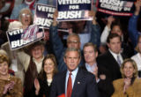 (GREELEY, CO. OCTOBER 25, 2004)President George W. Bush receives applause from supporters at the...