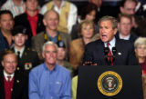 (GREELEY, CO. OCTOBER 25, 2004)President George W. Bush speaks to supporters at the Island Grove...