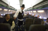 Denver, Colo.-November 22,2004- Jeff Potter, CEO of Frontier Airlines, dressed as a pilgrim on...