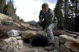 (ESTES PARK, Colo, November 11, 2004) Dan Ostrowski, a trail crew worker at Rocky Mountain...
