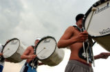 (DENVER, CO , June 29, 2004) Blue Knights Drum and Bugle Corps, bass drummers (rt-lt) Jonathan...