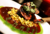 (DENVER, Co. - Shot 2/25/2005) Szechwan Grilled Pork Loin with roasted sweet corn salsa and...