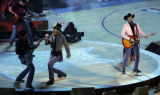 02/20/2005 Denver, Colorado-Country band Big and Rich performs during the halftime show of the NBA...