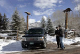(2/21/05, Aspen, CO) A security guard watching the entrance to Hunter S. Thompson's Owl Farm...