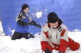 Evergreen, Colo., photo taken February 12, 2005-Brothers Mitch Myhra (left),11, and Kyle Myhra...