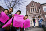 (DENVER, Colo., March 9, 2005) (L-R)   Omar Talavera,11, Jesus Herrera,11, Jose Alvarado,10, and...