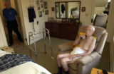 (BRUSH, Colo., April 23, 2004) Stan comes in the room as Harold completes his morning shave in his...