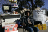 (2/28/05, Denver, CO) Linda White sells hotdogs and other snacks on the corner of Colfax and...