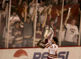 (DENVER, COLO.,  MARCH 4, 2005)   University of Denver Pioneers team captain, #27, Matt Laatsch(cq...