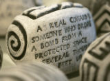 "(LAKEWOOD, Colo., March 16, 2005) A controversial piece of art , a clay ""stone"" engraved..."