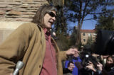 Boulder, Colo.-(March 3-2005)- University of Colorado professor Ward Churchill is cornered by the...