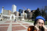 (DENVER, Co. - SHOT 3/16/2005) Jimmy Berry, 53, rubs his eyes while hanging out in Civic Center...