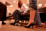 Broomfield, Colo., photo taken March 22, 2005- Stephanie Lesser (cq left),22, of Boulder, Colo.,...