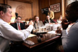 (DENVER, Co. - SHOT 3/8/2005) Governor Bill Owens (far left) called a meeting Tuesday in his...