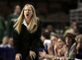 (DENVER shot on 3/9/05)   Air Force's head women's basketball coach Ardie McInelly shouts...