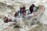 (BUENA VISTA, Colorado... June 9, 2004) White water  guide Woody Walstrom guides his crew through...