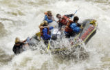 (BUENA VISTA, Colorado... June 9, 2004) White water  guide Eric Haven steers through Seidel's Suck...