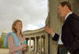 (DENVER, COLO., MAY 3, 2004)   ABC News anchor, Peter Jennings, right, visits with Univeristy of...