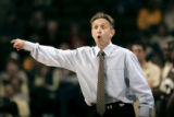 (DENVER shot on 3/10/05)   Wyoming head basketball coach Steve McClain questions a call by the...