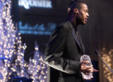 (Denver, Colo., February 18, 2005) Marcus Camby speaks at the NBA Wives' Gala at the Denver...