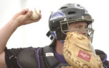 [(Tucson, AZ, Shot on: 2/18/05)] Colorado Rockies catcher J.D. Closser is penciled in as the lead...