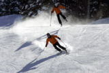 "(2/23/05, Aspen, CO) Skiers enjoy fresh powder in Aspen. ""A Change in the Air"" - This is..."