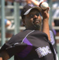 XTC101 - Colorado Rockies Darren Oliver warms up to pitch the first inning against the Chicago...