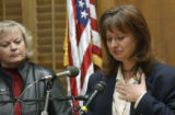(DENVER, Colo., Mar. 29, 2005) Mimi Schaefer (cq) 43, of Arapahoe County, becomes emotional as she...