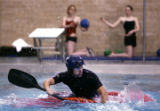 ( DENVER-3/15/2005 )  Kayaker Preston Lavato (cq), of Denver,  practices at the El Pomar...