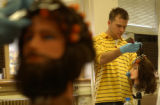 (DENVER, Colo., October 6, 2004) Jeremy Crimi, yellow shirt, a beginner, works on a specific foil...