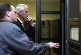 (Louisville, Colo.,  Oct. 21, 2004)  Pete Coors  was given a tour of  Storage Tek's  Customer...