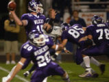 (ARVADA, Colo., October 7, 2004) Wildcats quarterback # 15, Sean McDougal, readies to pass with...