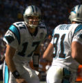 (Denver., on Sun. Oct. 10, 2004)   Carolina Panthers receiver Ricky Proehl, right, and ...