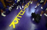 (FOUNTAIN, Co., SHOT 10/2/2004) Lake County Panthers football players walk around the locker room...